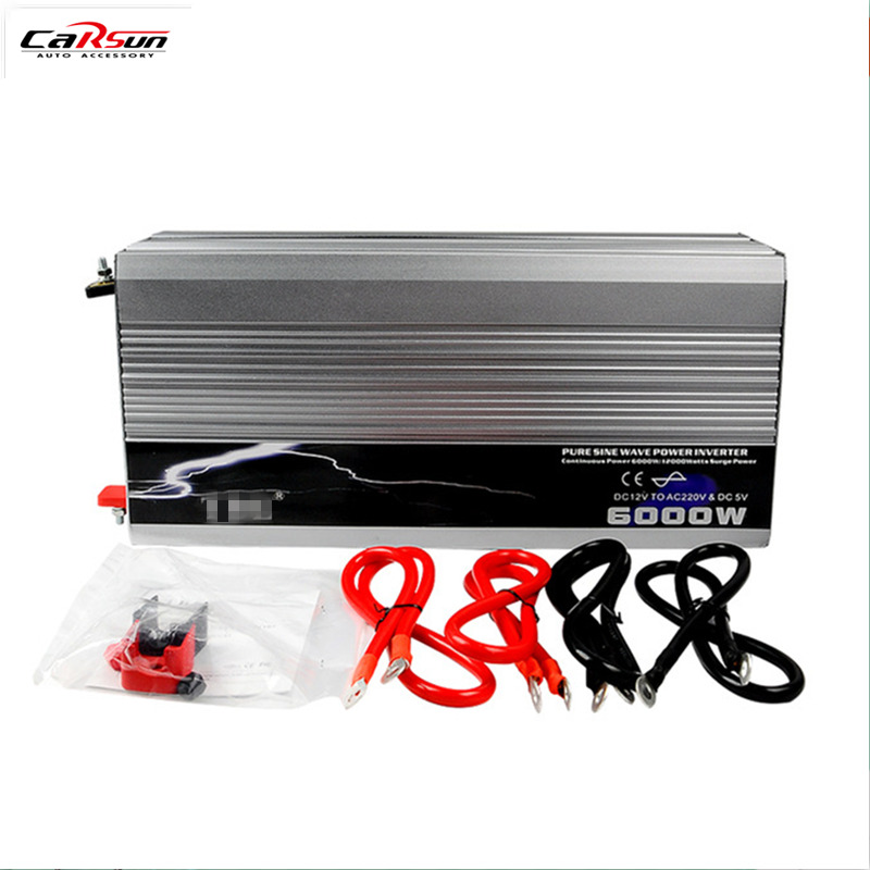 Free Shipping Car Power Inverter 6000W 6KW Pure Sine Wave Inverter DC 12V to AC 220V Converter With USB,Peak Power 12000W
