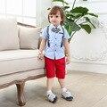 2016 Meninos Roupa Do Bebê Set Verão Terno Menino Cavalheiro Gravata borboleta Camisa com Short 100% Algodão Roupa Das Crianças Set Alta qualidade