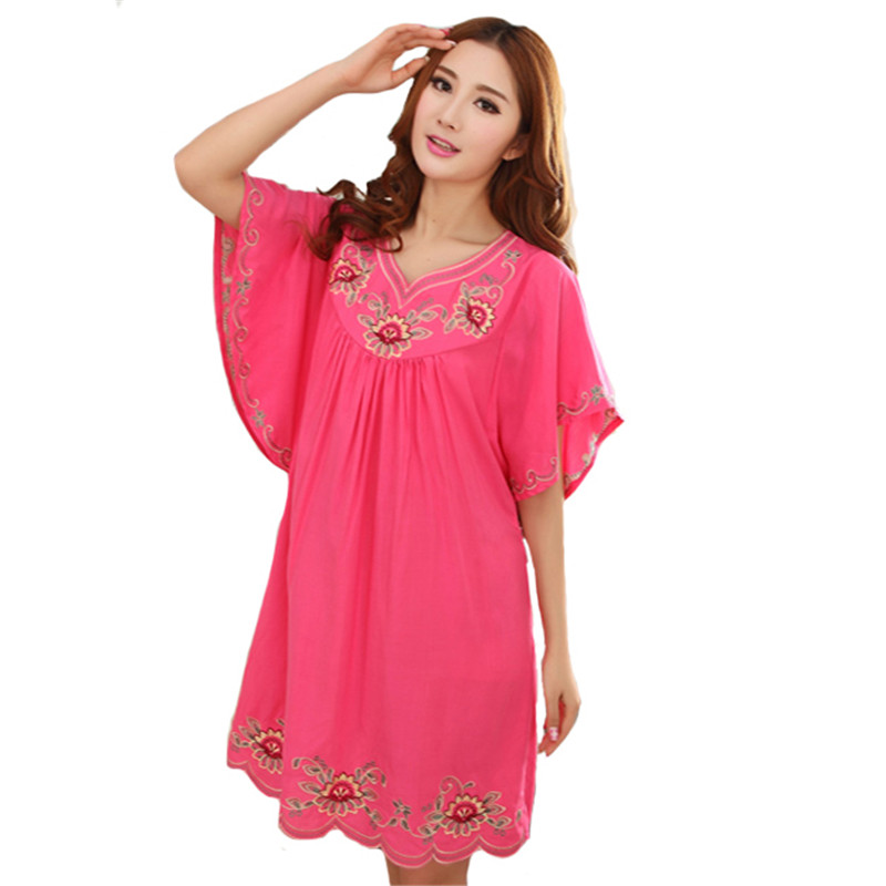 Womens Cotton Embroidery Sleepwear Short Sleeve Sexy Mini Nightdress Robe Dress Chinese Novelty Loose Bath Gown Nightgown