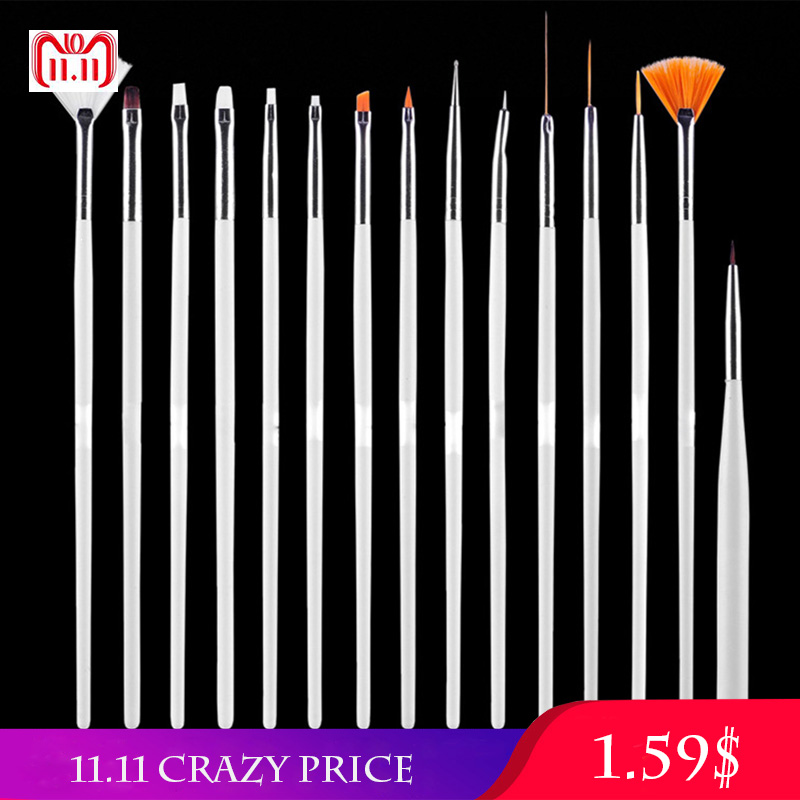 15pcs Professional UV Gel Acrylic Nail Art Brush Set Nail Design Polish Painting Drawing Pen Perfect Manicure Nail Tools New Kit