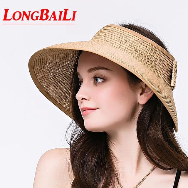 f4c447c3576 Summer Paper Braid Straw Sun Beach Hats For Women Folding Wide Brim Visor  Caps Free Shipping SDDS019