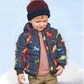 Verme YA67-2-75 Novo 2016 Jaqueta de Inverno Menino Fleece Impressão Dinossauro Com Capuz Menino Casaco Menino Outerwear Crianças Roupas Casuais