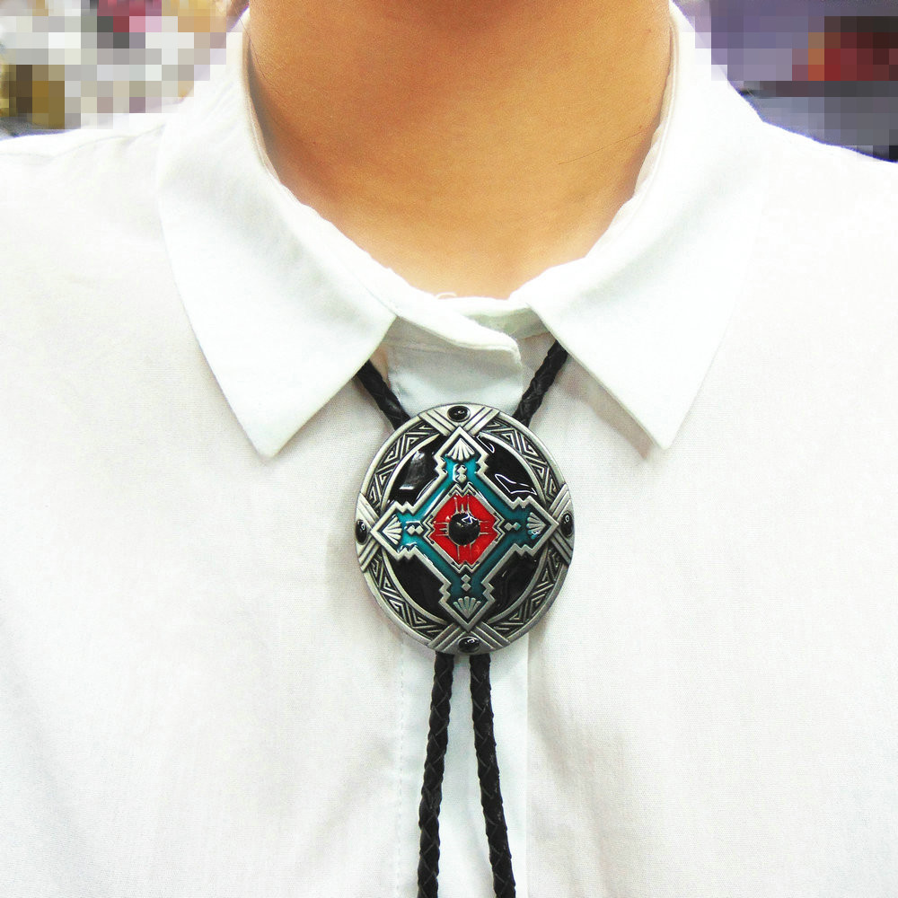 Western Bolo Tie Pendant Necklace Dance Rodeo Bola Bolo Tie Metal For Women Cowboy Leather Necktie Men's Necklace Jewelry
