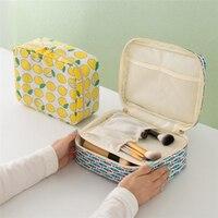 Doreen Box Portable Travel Cosmetic Bags Square Hand Bag Lemon Fish Duck Chick Pattern Fashion Sundries