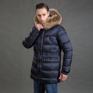 Image 4 - Hermzi 2020 男性の冬のジャケットコートパーカー厚みの取り外し可能な毛皮の襟ヨーロッパサイズブルー 4XL 送料無料