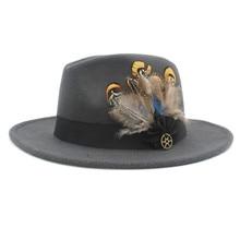 Шерсть с широкими полями фетровая шляпа Федора для женщин мужчин зима осень кашемир Гангстер церковная шляпа с перьевой лентой