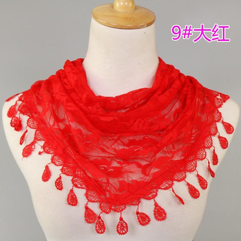 2017 Women Lace Tassel Triangle Shawl Summer Ladies Lace Tassel Sheer Metallic Flower Triangle Bandage Scarf/scarves 10pcs/lot