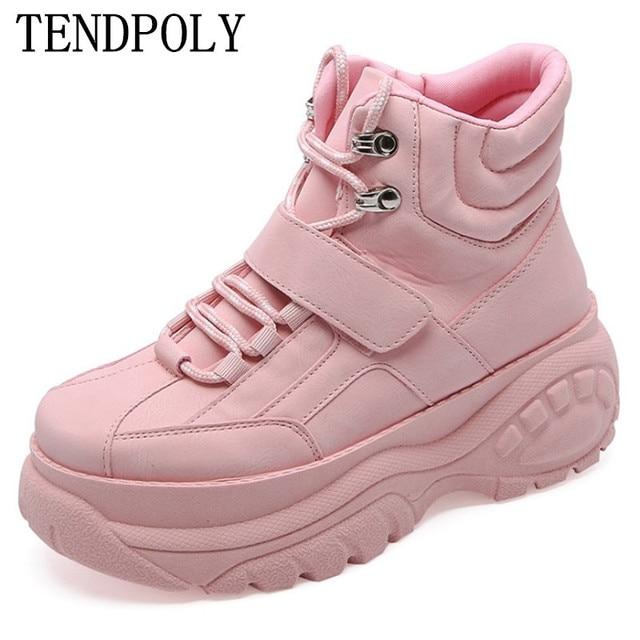 Mới Giày bốt nữ thu đông dày-Đế giày nữ giày nữ giữ ấm Boot Tăng chiều cao Cổ Điển màu trắng giày nữ