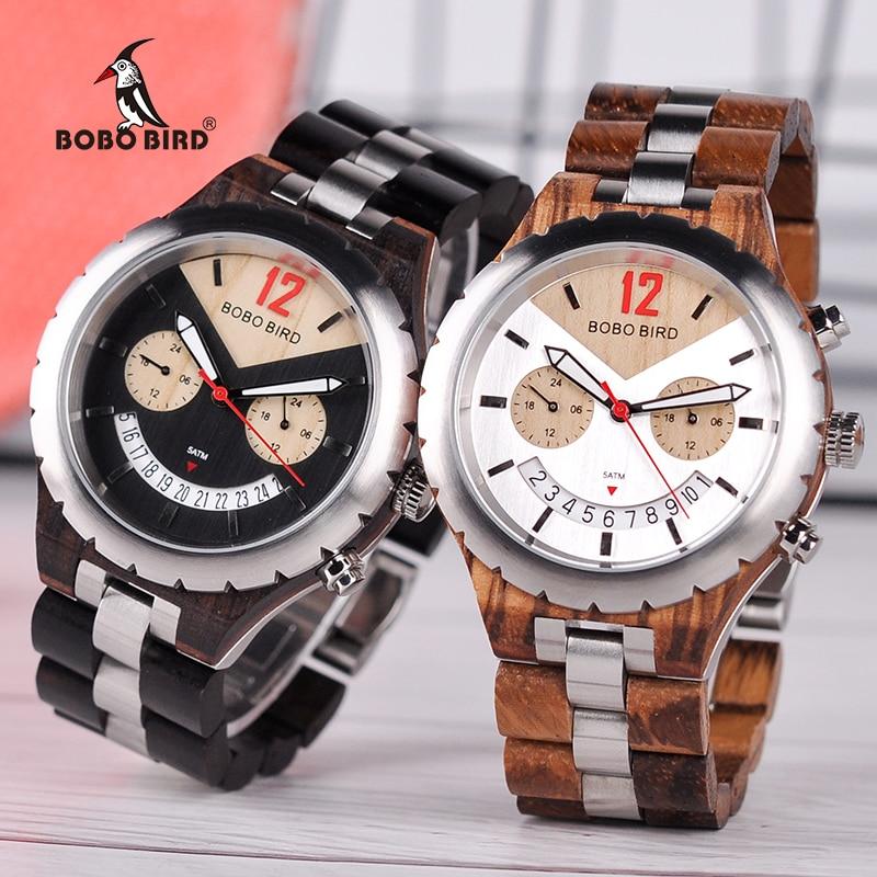 BOBO BIRD Wood Watches Men Wooden Quartz Saat erkek Wristwatches Male Japanese movement Show Date Gift Cuostom logo