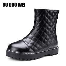 QUDUOWEI Platform Flat Boots For Women Pu Leather Shoes Woman Black Martin Boots Spring Autumn Ankle Boots Plus Size Shoes 34-43