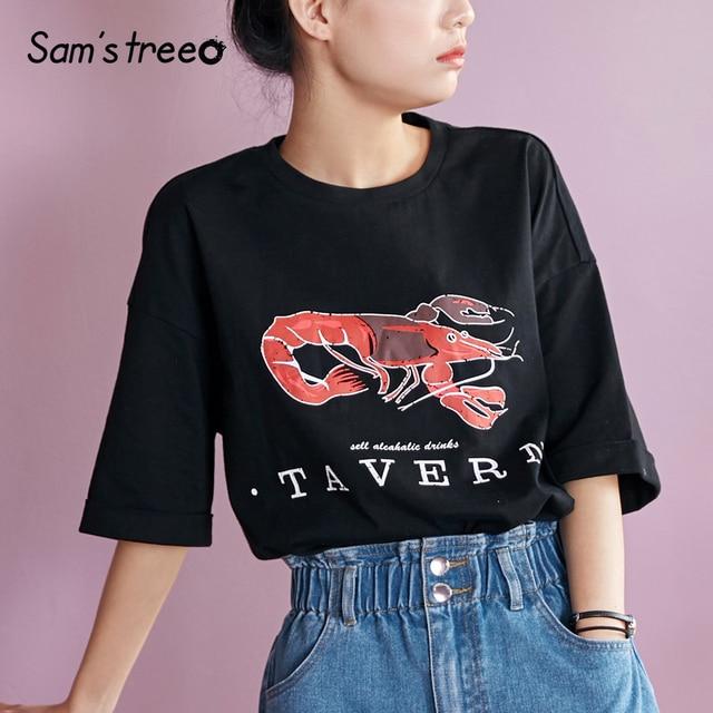 4eb1359827a18a Samstree Summer Sheer Cotton Female T-shirts Cartoon Printed Cuff Folded  Edge Women Tops Half Sleeve Female Tees Plus Size