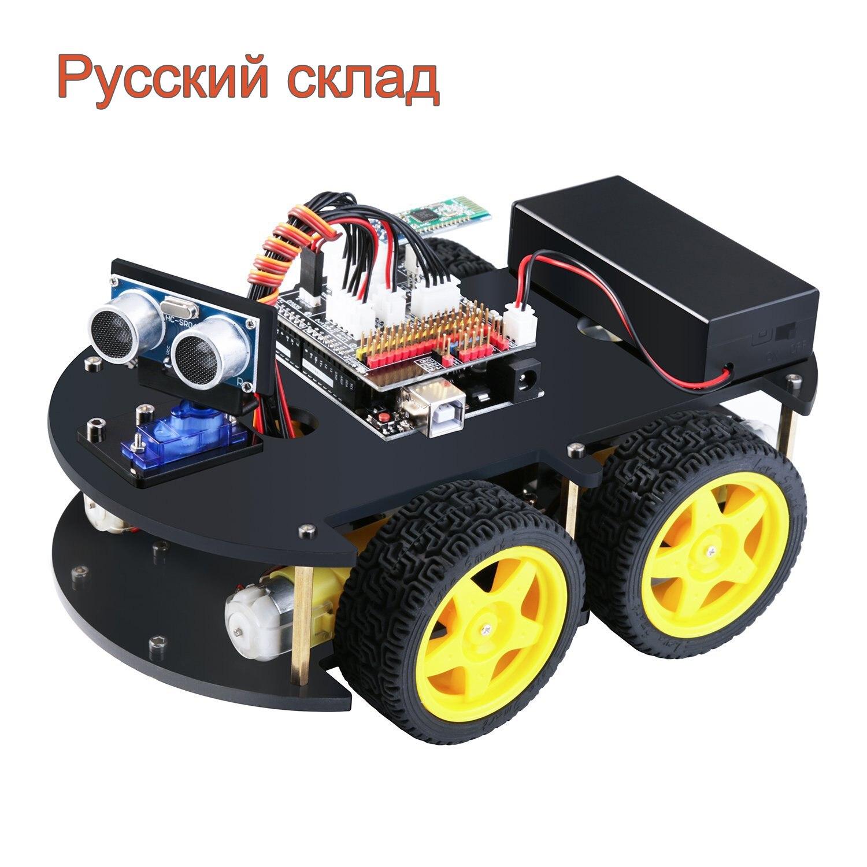 EL-KIT-012 uno projeto inteligente robô carro kit v 3.0 com uno r3, linha de rastreamento, sensor ultrassônico, bluetooth para arduino programa