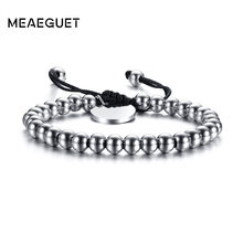 Meaeguet Adjustable 6mm Stainless Steel Beaded Bracelets for Women Men Lace-up Rope Chain Charm Bracelet(China)