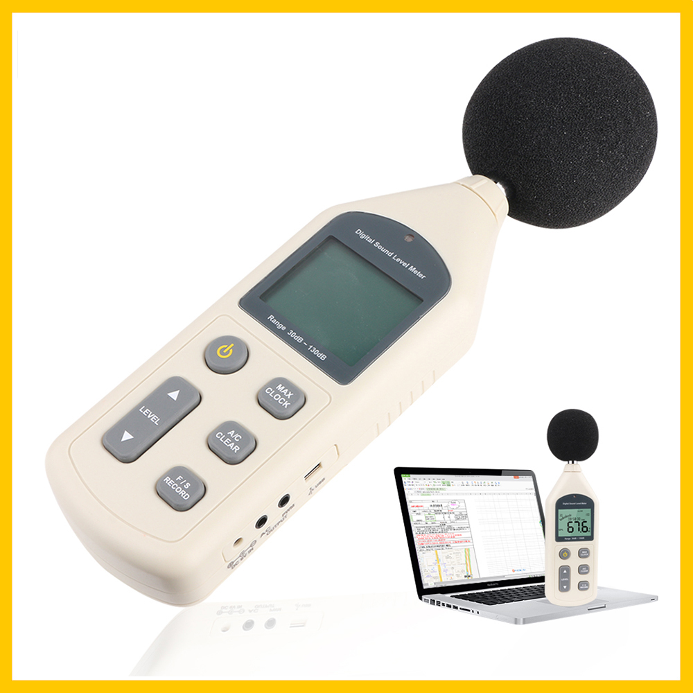C  RZ  Digital New 30 130dB Meter Noise SLOW LCD Screen GM1356 USB Sound Software A Level DB Tester Meters FAST