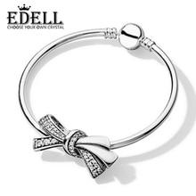 Edell 100% 925 1:1 a estrenar auténtico temperamento mariposa encanto pulsera de cuentas Set