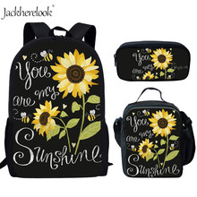 Jackherelook Primary Children School Bags for Teen Girls Sunflower Print Women Shoulder Backpack Large Capacity Book Mujer