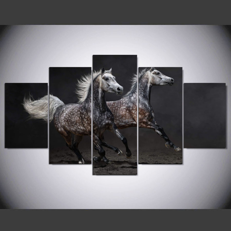 5 Panel Hd Modern Gray Horse Galloping Art Print Canvas Wall Framed Paintings For Living Room Picture Ny 1247