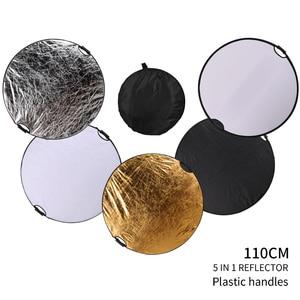 Image 2 - 43 110cm 5 in 1 taşınabilir katlanabilir yuvarlak el ışık reflektörü, flaş aksesuarları fotoğraf stüdyosu için taşıma çantası ile