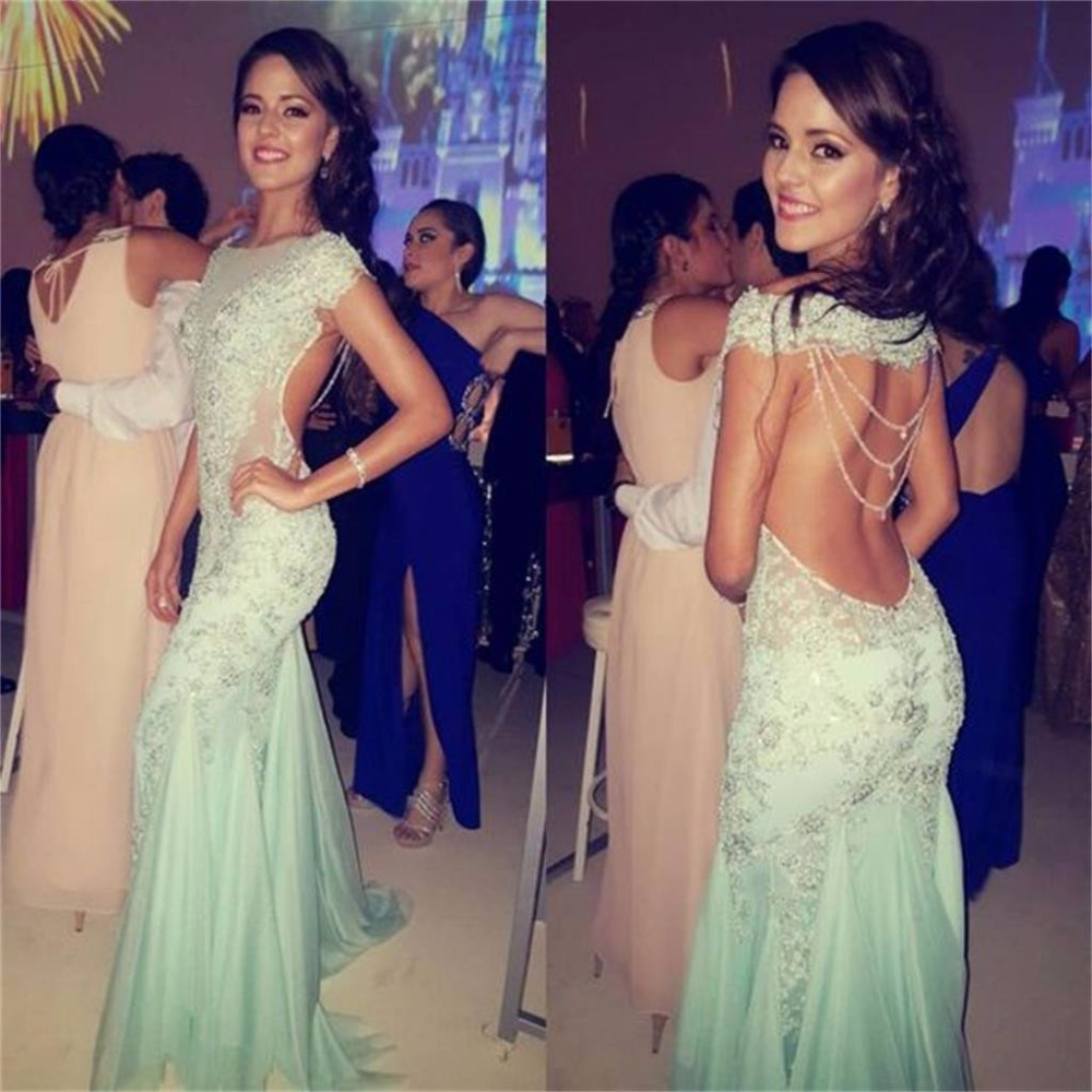 Modest Backless Mermaid   Prom     Dresses   2019 robe de bal Sheer Special Occasion   Dress   Custom Made Formal Women Evening Gowns