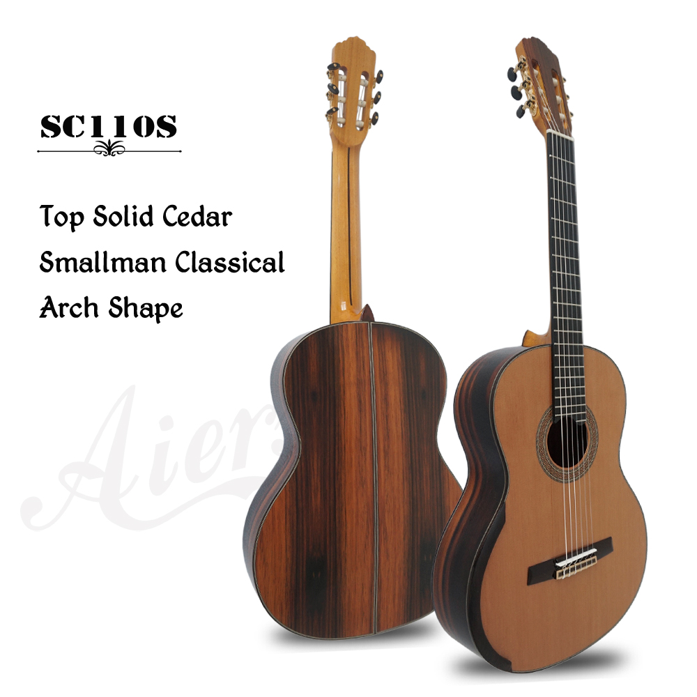 High grade Classic smallman guitar,master grade arch back lattice sound bracing classic guitar SC110S with free hard case performance cutway classic guitar with hard case