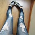 2015 Women's New Hot Lady Solid Black&Blue Denim Like Faux Jean Leggings Stretchy Leg Pants Free Shiping B2#
