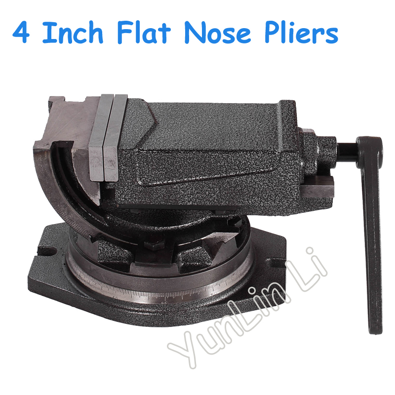 4 Inch Inclinable Angle Solid Flat Tongs 360-degree Rotary Precision Taper Vise Precision Flat Tongs For CNC Milling Machine