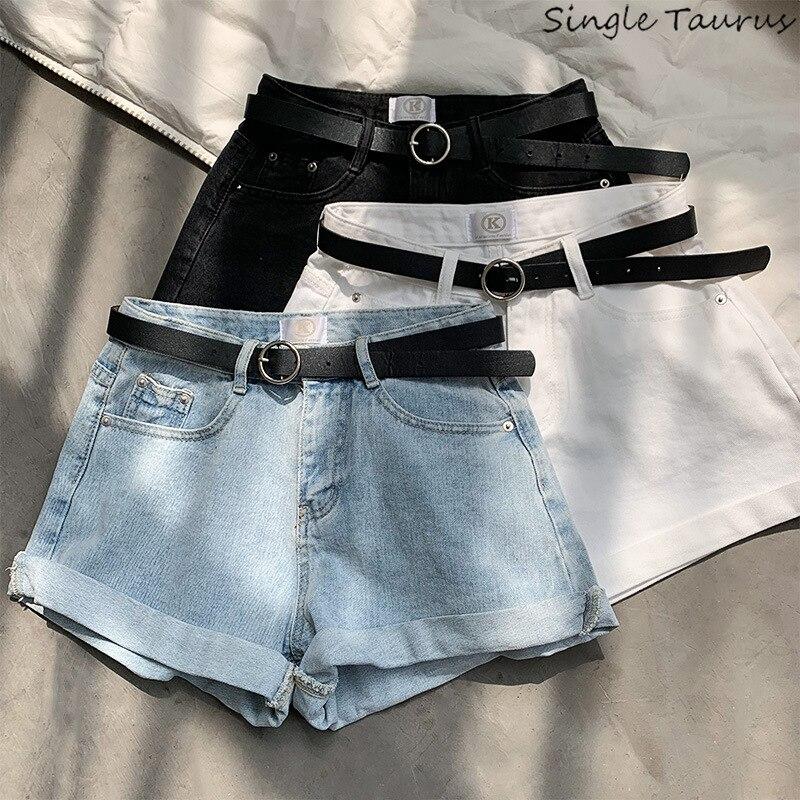 Korte Jeans Broek Dames.High Waist Summer Denim Shorts Women Preppy Style Causal Jeans
