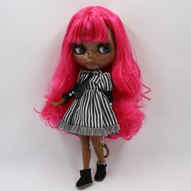 TBL Neo Blythe Doll Pink Rose Hair Jointed Body