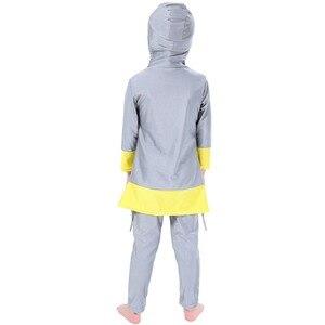 Image 5 - Мусульманский купальник для девочек, детский купальный костюм Burkinis, пляжная одежда в арабском стиле, костюм для плавания и дайвинга, комплект из двух предметов с длинными рукавами