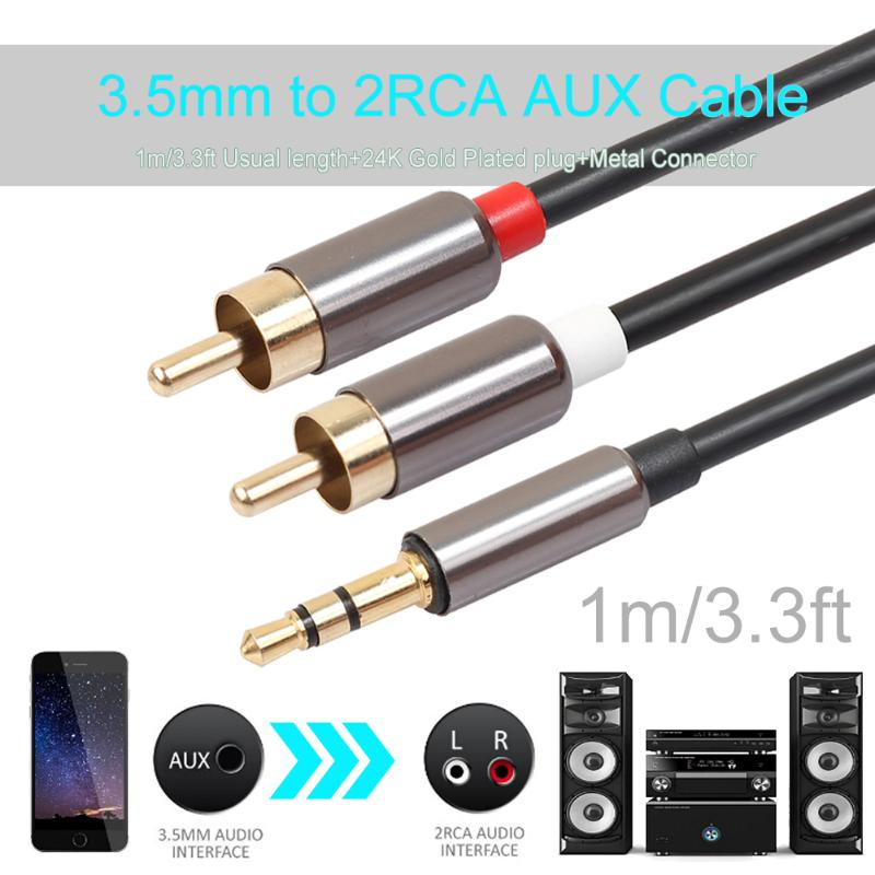1m metal case 35mm male to 2rca audio stereo y splitter cable for material composition pvc high purity oxygen free copper conductor connect your cell phone ipod mp3 player tablet or pc to your home audio system greentooth Images