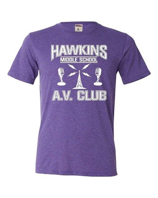 Adult Hawkins Middle School Av Club Triblend T Shirt New Brand