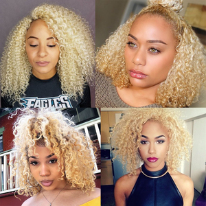 Image 2 - Kinky Curly Lace Front Wig 613 Honey Blonde HD Transparent Lace Short Bob 13x6 Human Hair Wigs Brazilian Dolago Colorful Wig