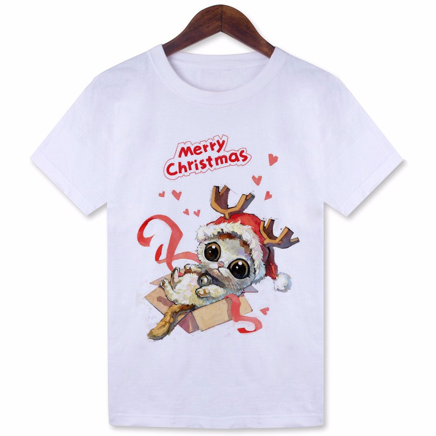 YEMUSEED Cute Animal Christmas Cat T shirt Women White Casual Tees Tumblr Kwaii Cartoon Tops WMT298 ...