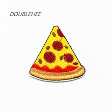 DOUBLEHEE 5.2cm*5.1cm Embroidered Iron On Patches Delicate Delicious Pizza Design Beauty Badges diy accessories