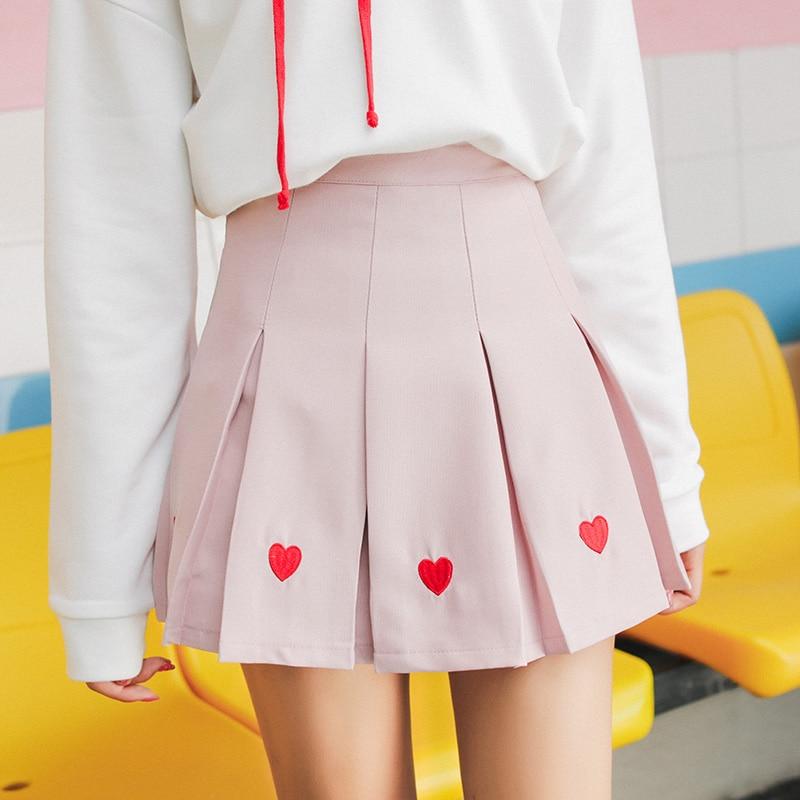 Harajuku Kawaii Heart-shaped Embroidery Pink Pleated Skirt Womens Clothing Autumn Korean White Black Mini Skirt Streetwear K567