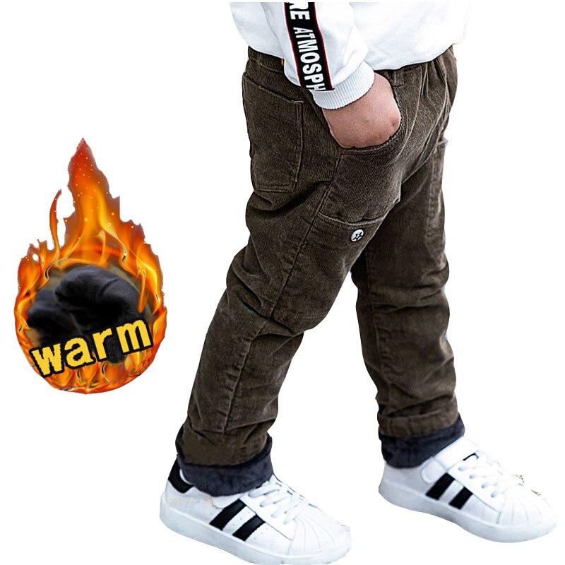 купить Baby Boy winter trousers for 2 4 6 8 10 years old children's corduroy pants baby boy warm thick velvet casual pants kids clothes недорого