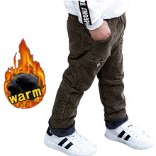 цена Baby Boy winter trousers for 2 4 6 8 10 years old children's corduroy pants baby boy warm thick velvet casual pants kids clothes онлайн в 2017 году