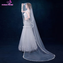 AOLANES Wedding Accessories Appliques Tulle 2.5 Meters Cathedral Wedding Veils Lace Edge Bridal Veils veu de noiva longo 2018(China)