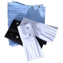 THINKTHENDO 1 Pair Detachable Shirt Pleated Horn Flare Sleeve Cuffs Over Sleeve Wristband