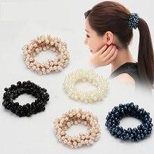Элегантные головные уборы с жемчугом и кристаллами эластичные