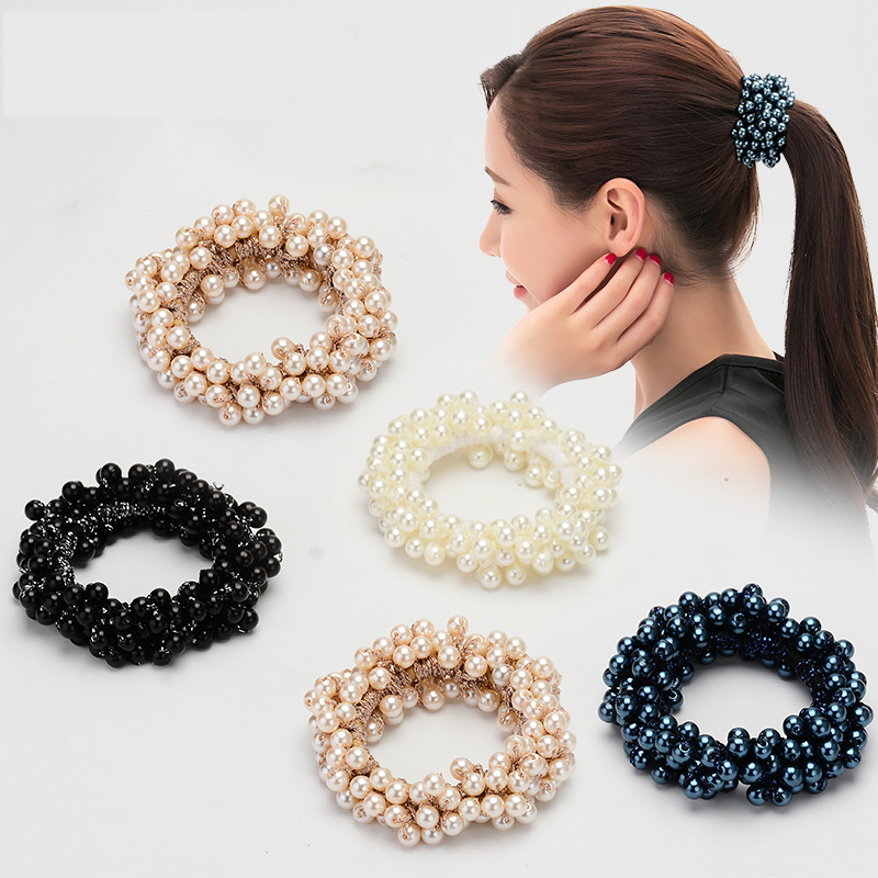 Elegant Pearl Crystal   Headwear   Elastic Hair Bands Hair Elastic Rubber Band Ring Tie Hair Accessories Scrunchy Headband For Women