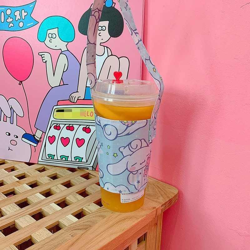 Pacote de Lona Sacola Saco de Bebida Agitar Copo Copo dos desenhos animados Saco Portátil Conveniente Acessórios De Garrafa Tampa de Garrafa de Água de Chá de Leite