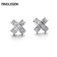 Kindlegem 2017 Charm Pure 925 Sterling Silver Stud Earrings X Zircon For Female Luxury Band Jewelry