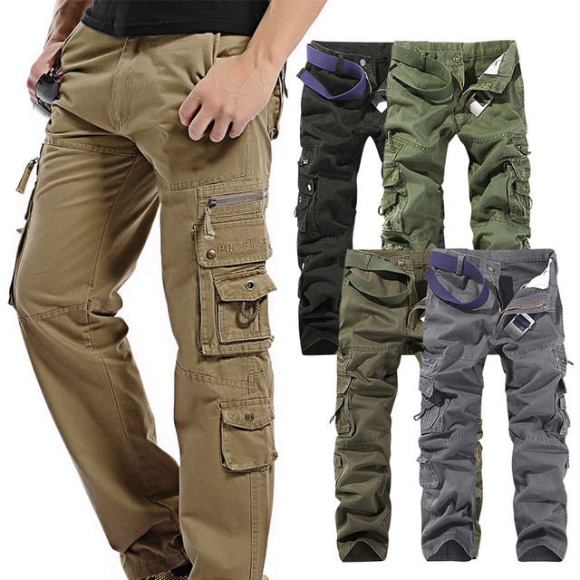 Fashion BBYES Cotton Mens Fitted Combat Cargo Pants Army Military With  Pockets Casual Work Trousers Easy 8222a32423c