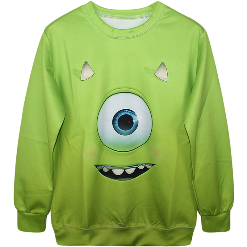 Harajuku 3D Print Monsters Michael Wazowski Sweatshirts Fashion Lady Cartoon Mike Big Eye Green Hoodies Street Tops Pullover