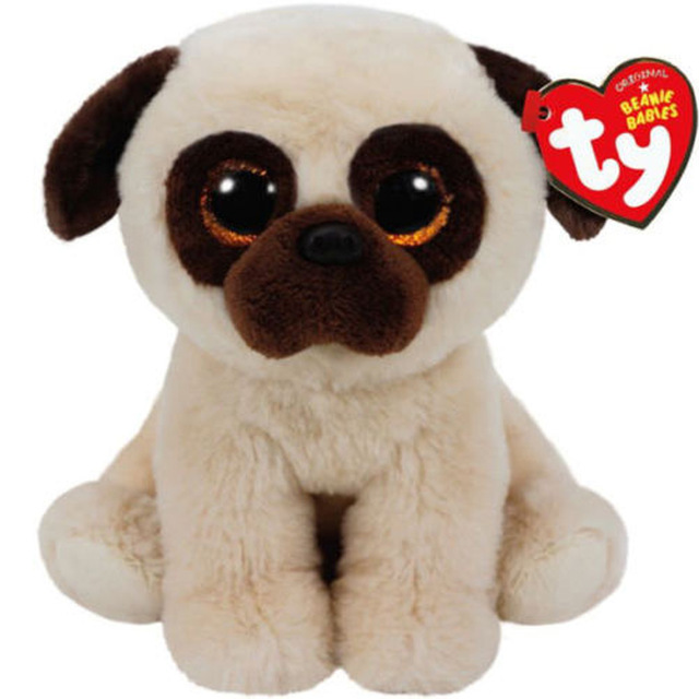 Ty Beanie Boos 6 15cm Pugsly The Pug Plush Medium Soft Big Eyed