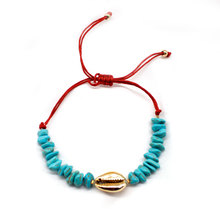 New Fashion Red Rope Chain Bracelet Hand Woven Stone Beads Alloy Shell Charm Bracelets Accessories for Women
