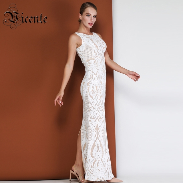Vicente HOT Chic Geometric Sequins Long Dress Sexy Sleeveless Wholesale Celebrity Party Club Wear Mesh Long Dress