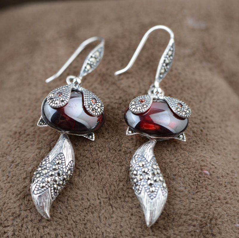 The fox S925 silver inlaid red zircon silver earrings wholesale antique style female Charm Earrings thai silver earrings s925 zircon silver inlaid white female antique style earrings atmospheric water