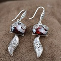 The fox S925 silver inlaid red zircon silver earrings wholesale antique style female Charm Earrings